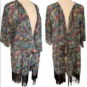 Fringed Boho Kimono Size L / Large Monroe Duster